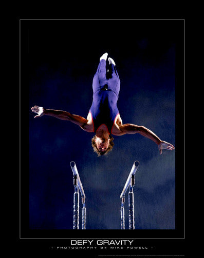 "Men's Gymnastics ""Defy Gravity"" (Parallel Bars) Motivational Poster"
