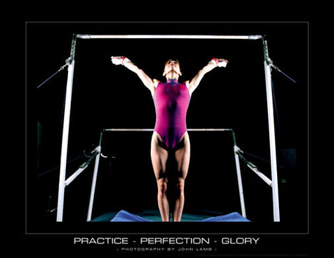 "Women's Gymnastics ""Practice-Perfection-Glory"" (Uneven Bars) Motivational Poster"