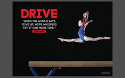 "Gymnast on Balance Beam ""Drive"" (Try It Again) Inspirational Motivational Gymnastics Poster - Jaguar"