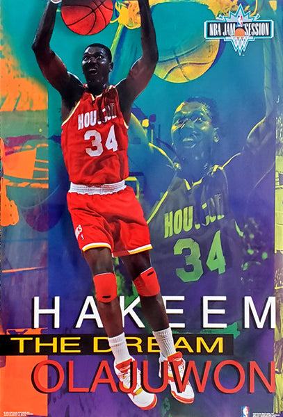 "Hakeem Olajuwon ""Jam Session"" Houston Rockets NBA Action Poster - Costacos Brothers 1993"