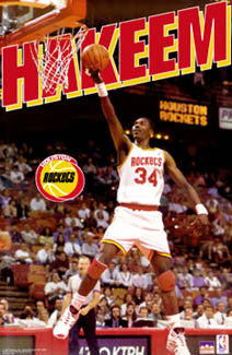 "Hakeem Olajuwon ""Classic"" Houston Rockets NBA Action Poster - Starline Inc. 1994"