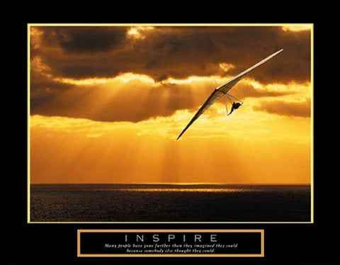 "Hang Gliding ""Inspire"" Motivational Poster - Front Line"