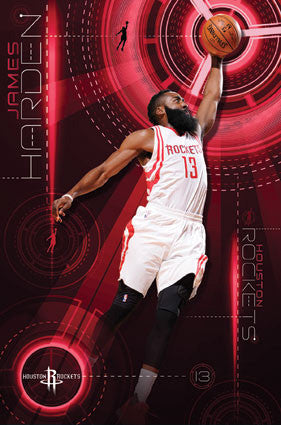 "James Harden ""Soaring"" Houston Rockets NBA Basketball Poster - Trends 2016"