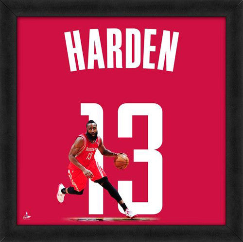 "James Harden ""Number 13"" Houston Rockets NBA FRAMED 20x20 UNIFRAME PRINT - Photofile"