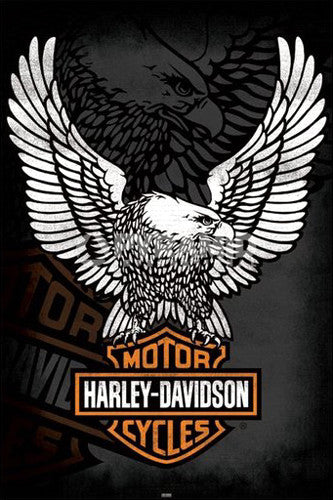 "Harley-Davidson Motorcycles ""The Eagle Has Landed"" Official Logo Poster - Pyramid International"