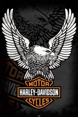 harley davidson motorcycles the eagle has landed official logo rh sportsposterwarehouse com harley davidson eagle logo wallpaper harley davidson eagle logo vector