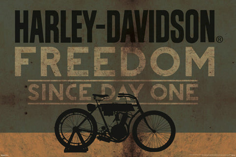 "Harley-Davidson Motorcycles ""Freedom Since Day One"" Official Poster - Pyramid International"