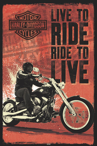 "Harley-Davidson Motorcycles ""Live to Ride, Ride to Live"" Poster - Pyramid International"