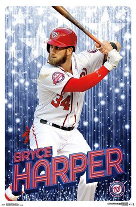 "Bryce Harper ""Superstar"" Washington Nationals MLB Baseball Action Poster - Trends 2016"