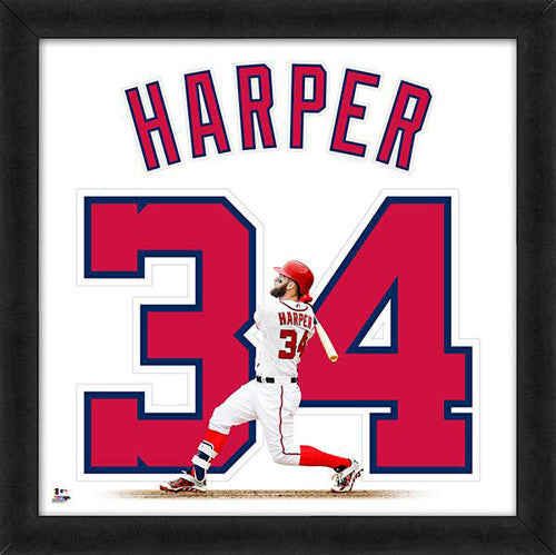 "Bryce Harper ""Number 34"" Washington Nationals FRAMED 20x20 UNIFRAME PRINT - Photofile"