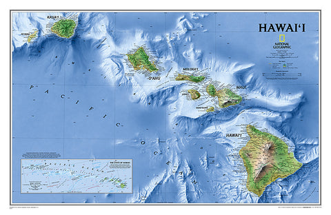 Map of Hawaii National Geographic Classic Edition 20x31 Wall Map Poster - NG Maps