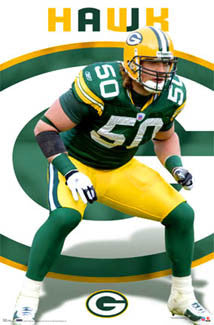 "A.J. Hawk ""Bruiser"" Green Bay Packers NFL Action Poster - Costacos 2007"