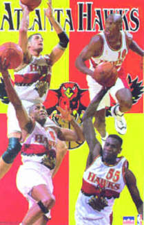 "Atlanta Hawks ""Four Stars"" NBA Basketball Poster - Starline 1997"