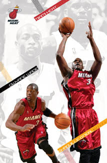 "Dwyane Wade and Shaquille O'Neal ""Dynamic Duo"" Miami Heat Poster - Costacos 2006"