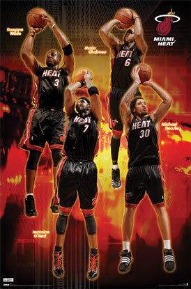 "Miami Heat ""Core Four"" NBA Action Poster (Wade, O'Neal, Chalmers, Beasley) - Costacos 2009"