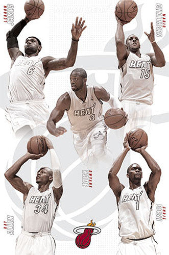 "Miami Heat ""White Out"" 5-Player NBA Action Collage Poster - Costacos 2014"