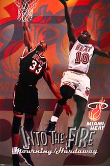 "Miami Heat ""Into the Fire"" Poster (Alonzo Mourning, Tim Hardaway) - Costacos 1998"