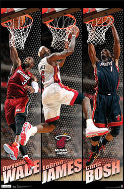 "Miami Heat ""Action Stars"" Poster (LeBron James, Dwyane Wade, Chris Bosh) - Costacos 2012"