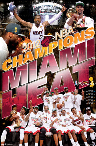"Miami Heat ""Celebration"" 2012 NBA Champions Commemorative Poster - Costacos Sports"