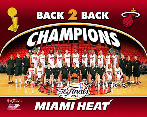 "Miami Heat ""Back-To-Back"" 2013 NBA Champions Team Composite Poster Print - Photofile 16x20"