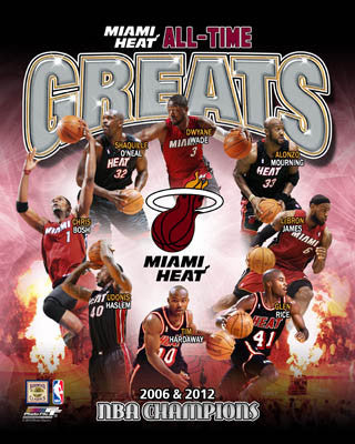 Miami Heat All-Time Greats (8 Legends, 2 NBA Championships) Premium Poster Print