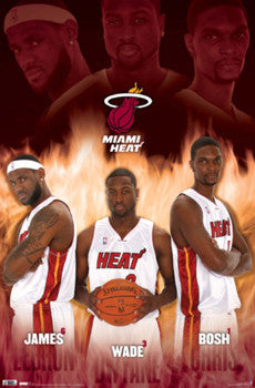 "Miami Heat ""Ultimate Trio"" (LeBron, Wade, Bosh) Poster - Costacos 2010"