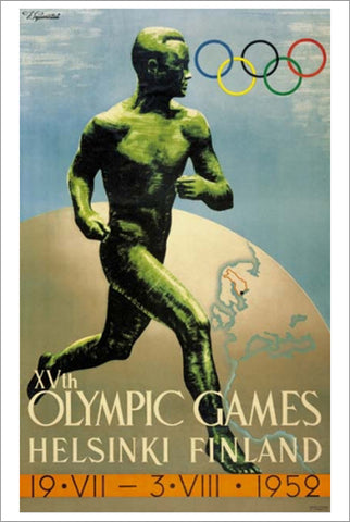 Helsinki Finland 1952 Summer Olympic Games Official Poster Reprint - Olympic Museum