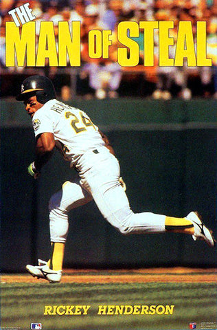 "Rickey Henderson ""Man of Steal"" Oakland A's Poster - Costacos 1990"