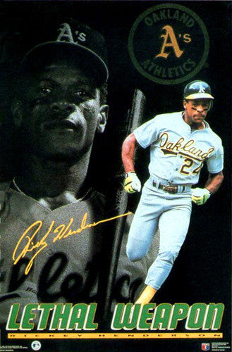 "Rickey Henderson ""Lethal Weapon"" Oakland A's Poster - Costacos 1992"
