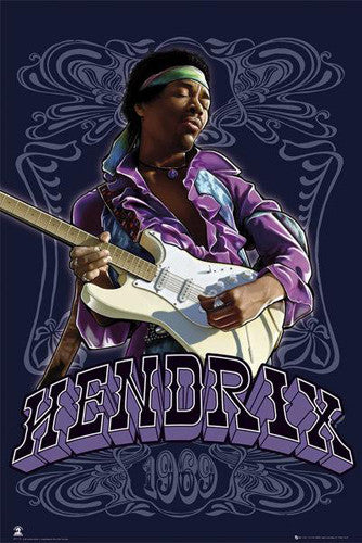 "Jimi Hendrix ""Purple Haze 1969"" Music Legend Psychedelic Poster - Aquarius Images Inc."