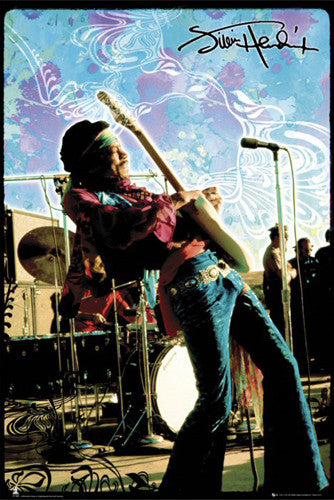 "Jimi Hendrix ""Psychedelic Live"" (Woodstock 1969) Music Legend Poster - GB Eye"