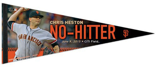 Chris Heston NO-HITTER San Francisco Giants Premium Felt Commemorative PENNANT - Wincraft