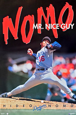 "Hideo Nomo ""Nomo Mr. Nice Guy"" Los Angeles Dodgers MLB Action Poster - Costacos Brothers 1995"