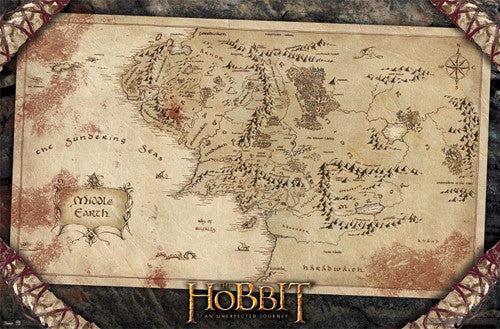 Map of Middle Earth Poster (from J.R.R. Tolkien's The Hobbit) - Trends 2012