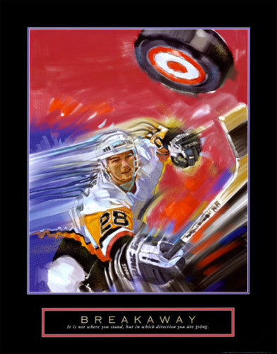 "Hockey ""Breakaway"" Motivational Poster Print - Front Line"