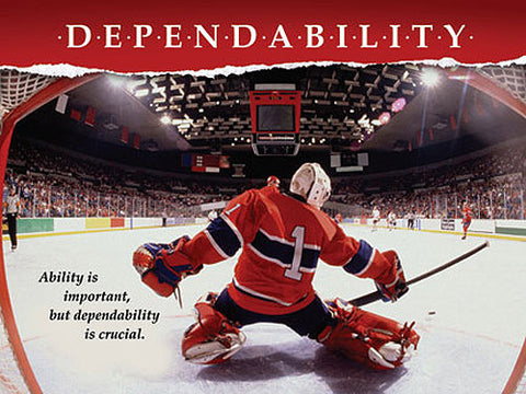 "Hockey Goalie ""Dependability"" Motivational Inspirational Poster - Jaguar Inc."