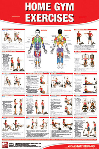 Home Gym Exercises Wall Chart (Universal Equipment) - Productive Fitness