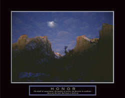 "Full Moon over Zion Canyon ""Honor"" Motivational Poster - Front Line"