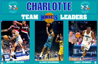 "Charlotte Hornets ""Team Leaders"" Poster (Bogues, Mourning, Johnson)  - Starline 1993"