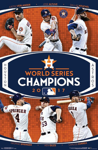Houston Astros 2017 World Series CHAMPIONS 6-Player Commemorative Poster - Trends International