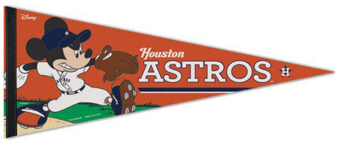 "Houston Astros ""Mickey Mouse Flamethrower"" Official MLB/Disney Premium Felt Pennant - Wincraft Inc."
