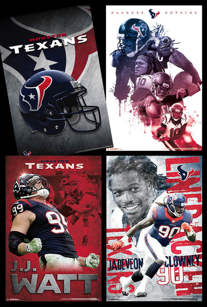 COMBO: Houston Texans Football 4-Poster Combo Set (JJ Watt, Hopkins, Clowney, Helmet/Logo)