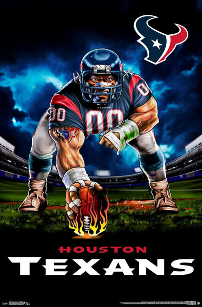 "Houston Texans ""Ferocious Football"" NFL Theme Art Poster - Liquid Blue/Trends Int'l."