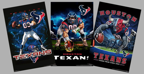 COMBO: Houston Texans Football Liquid Blue Theme Art 3-Poster Combo - Trends International