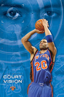 "Allan Houston ""Court Vision"" New York Knicks Poster - Costacos 2003"