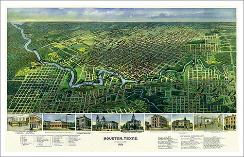 Houston, Texas 1891 Classic Aerial Panorama Premium Poster Reproduction