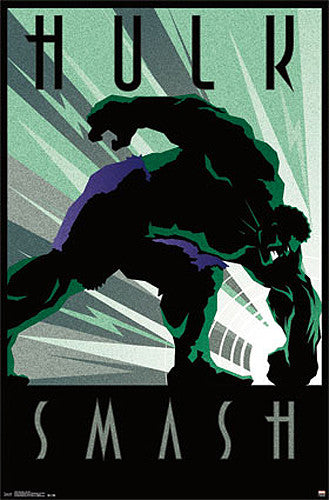 "Incredible Hulk by Marvel Comics ""Art Deco"" Decorative Collectible Wall Poster - Trends"