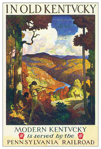 Old Kentucky Hunting via Pennsylvania Railroad Historic Poster Reprint - Eurographics