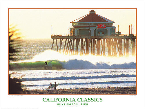 "Surfing ""Huntington Pier"" California Classics Poster Print - Creation Captured"