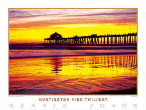 "Surfing ""Huntington Pier Twilight"" Poster Print - Creation Captured"